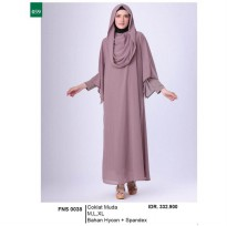 Busana muslim wanita/Gamis/Long Dress wanitaGarsel Fashion FNS 0038 COKLAT