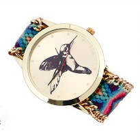 [poledit] Tonsee Women Knitted Braided Rope Band Bracelet Cuckoo Pattern Wrist Watch H (T1/12418679