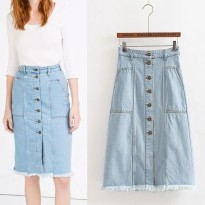 41163 - Blue Casual Denim (S,M,L) Skirt