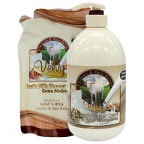 Velvy Goats Milk Shower Cream Lirorice & Shea Butter 1000ml + 800ml Refill