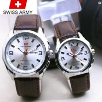 Jam Tangan Couple Swiss Army Tgl/Hari Leather Dark Brown Semi Super