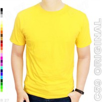 C59 Original K4-17 Kaos Distro Polos Cotton Kuning