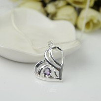 Kalung 925 Sterling Silver Liontin Hati Crystal Amethyst