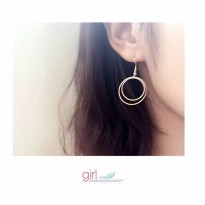 Simple Double Round Earrings - Gold