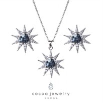 Korea Cocoa Jewelry Clear Star Ice - SET Kalung dan Anting Silver Color