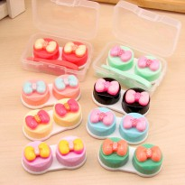 hcl013 kotak softlens pita lucu Cute Small Boxes Contact Lens Bows