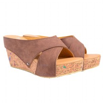 Dr.Kevin Women Sandals Wedges 27367 Brown