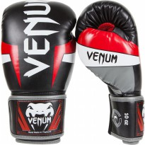 VENUM ELITE BOXING GLOVES BLACK/RED/GREY