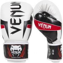 VENUM ELITE BOXING GLOVES WHITE/BLACK/RED