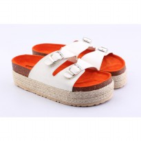 Catenzo Sandal Bold Wanita AKx822 White Red