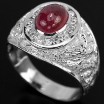CINCIN GENUINE BLOOD RED RUBY & WHITE CZ REAL 925 SILVER SZ.10