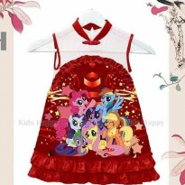 Dress Imlek Cheongsam CNY Anak My Little Pony Merah Kids
