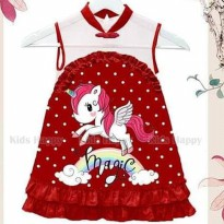 Dress Cheongsam Imlek CNY Anak Unicorn Merah Kids