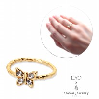 Cocoa Jewelry Cincin Wanita Korea - Beige Butterfly Shape Gold Color - No Box