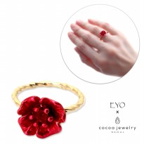 Cocoa Jewelry Cincin Wanita Korea - Beige Flower Shape Gold Color - No Box