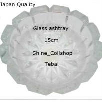 ORIGINAL JAPAN GLASS ASHTRAY/ASBAK KRISTAL/MOTIF BUNGA SALJU/3 PCS/15CM