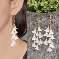 Crowded Tulip Flower Acrylic Earrings - White