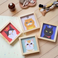 Cat Family Wooden Photo Frame Large