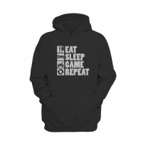 Hoodie Eat Sleep Game & Repeat - Hitam