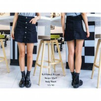 JEANS BUTTON SKIRT BLACK