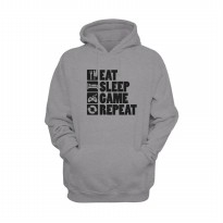 Hoodie Eat Sleep Game & Repeat - Abu-abu Misty