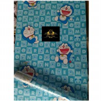 Wallpaper Sticker 10m Motif Doraemon Huruf Biru