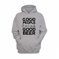 Hoodie Good People Drink Good Beer - Abu-abu Misty