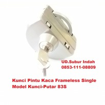 Kunci Pintu Kaca Frameless Single Model Kunci-Putar 83S