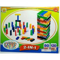 MAINAN EDUKATIF 2IN1 DOMINO UNO STACKO BLOCK STACKING GAME BALOK SUSUN