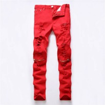 [globalbuy] 2016 Red White Black Ripped Denim Pant Knee Hole Zipper Biker Jeans Men Slim S/4154811