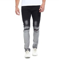 [globalbuy] 2017 Gradient Color New Men Biker Jeans Fashion Casual Skinny Slim Ripped Hip /4154748