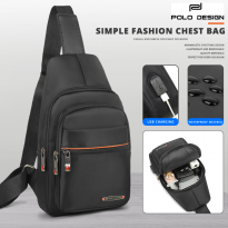 Polo Design Chest Bag 802-26 Black - Tas Selempang