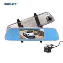 [globalbuy] NT96658 chip car dvr camera full HD1080P rearview mirror dvr with two cameras /4300811
