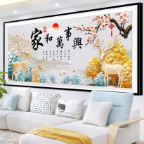 DIY Diamond Painting Full Rusa Keluarga Harmonis 120x50cm D217