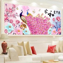 DIY Diamond Painting Full Merak Pink Bunga 120×50CM D231