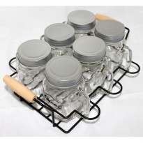 OX-036 Mason Mugs Oxone with Rack 7Pcs[(sdh termasuk packing kayu) Oxone Mason Mug with rack ox-036]