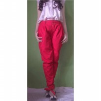 ribbon harrem pants in red