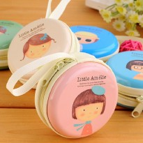 Dompet koin mini bulat tas earphone gambar amelia - souvenir coin bag