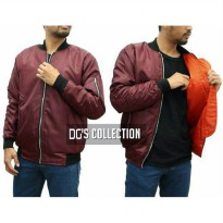 Jaket Bomber Waterproof Taslan Maroon in Orange
