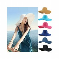 HO2529W - Topi Pantai Sun Beach Hat Big Colour #Seri 1