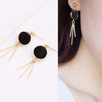 Round PomPom Earrings - Black