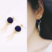 Round PomPom Earrings - Navy