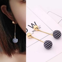 Stripes Black and White Ball Earrings - Gold
