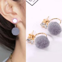 U style gem PomPom Earrings - Grey