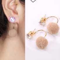 U style gem PomPom Earrings - Mocca