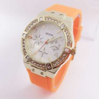 Jam Tangan Wanita Guess Chrono Rubber Orange