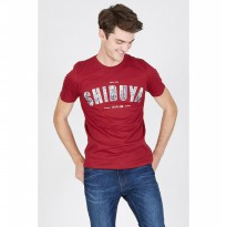 [ BERRYBENKA ] Men Shibuya City Pack Tshirt Maroon