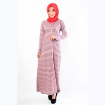 Jfashion Long dress Gamis Maxi Corak Salur Tangan panjang - New Maxi salur