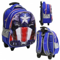 Tas Trolley Anak TK Import Avengers Otot 6D Soft Hard Cover Timbul