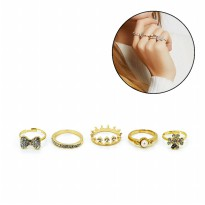 Sophie Paris Cincin Wanita Lany Ring Set Gold 15-R623G115 | Material ZINC & ALLOY